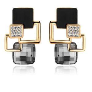 Jewelry - Crystal Square Geometric Gem Drop Earrings
